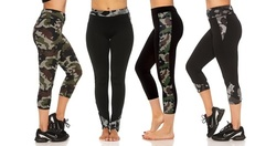Missy & Plus Size Camo Activewear Leggings: Side Capris 7113-Green/Small 1368267