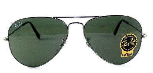 98b5894ed29e4 ... Ray-Ban Unisex Aviator Metal Sunglasses - Gunmetal Frame Green Lens ...