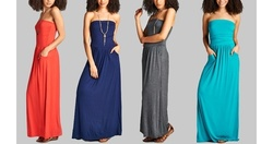 Love Kuza Women's Strapless Ruched Maxi Dress - Charcoal - Size: S