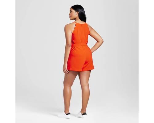 b972520d2289 Victoria Beckham Women s Scallop Tie Waist Romper - Orange - Size  3X ...