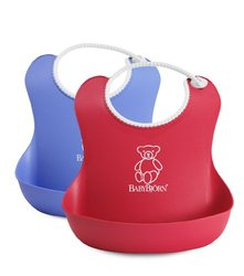 BABYBJORN Soft Bib Red/Blue Pack 2