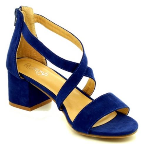 8e923657d11 Mata Women s Low Block Heel Sandals - Royal Blue - Size  8 (DORIA-01 ...
