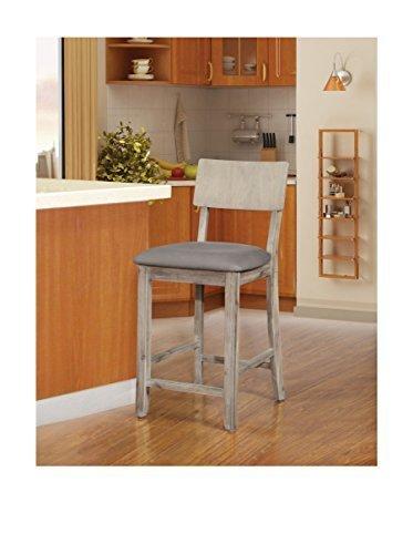 Linon Home Decor Products Inc Jordan Wash Stool Grey Check Back