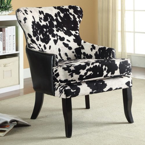 Coaster Cowhide Print Accent Chair Black White Check Back Soon