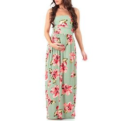 8b5de00675 Women s Strapless Ruched Maxi Tube Maternity Dress with Pockets by Mother  Bee - Made in USA