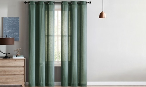 951af17f3d12 ... VCNY Home Jeanette Sheer Grommet Top Window Curtains - Sage - Size:  76x96 ...