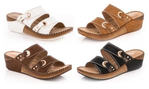 e4a6214ac0d7 Lady Godiva Women s Double Strap Wedge Sandals - Tan - Size 7 ...