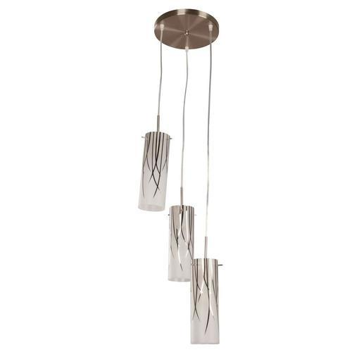 Hampton Bay 3 Light Brushed Nickel Mini Pendant With Bamboo Leaf Pattern