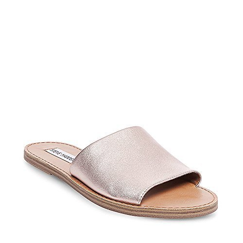 279a6136a04 ... Steve Madden Women s Grace Flat Leather Sandals - Rose Gold - Size  ...