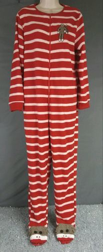 eb5a4a57a781 Nick   Nora Sock Monkey Striped Fleece Footed Pajama - Red White ...