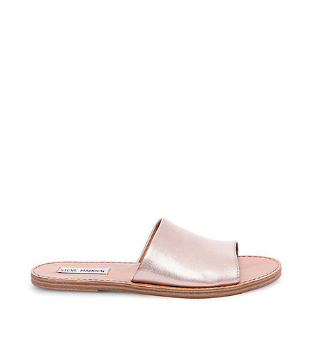 bf1353394a1b ... Steve Madden Women's Grace Flat Leather Sandals - Rose Gold - Size: ...
