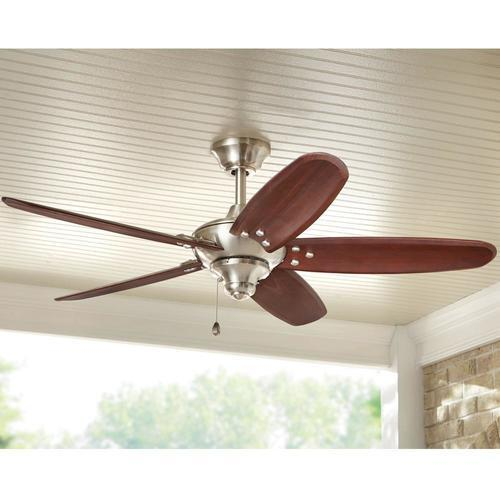 Home Decorators 48 Altura Indoor Outdoor Ceiling Fan Brushed Nickel