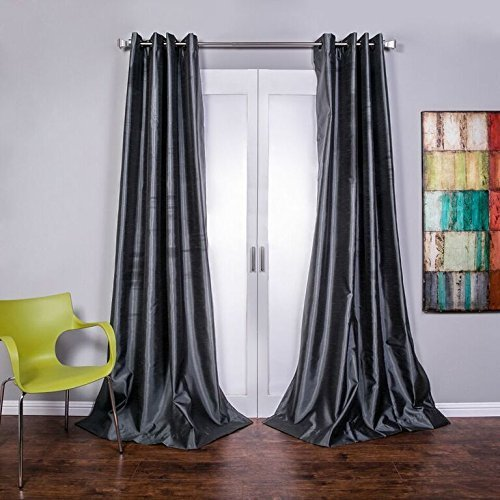 Lambrequin mia faux silk curtain panel slate size 54 x96 check back soon blinq - Epic window treatment decoration with slate blue curtain ...