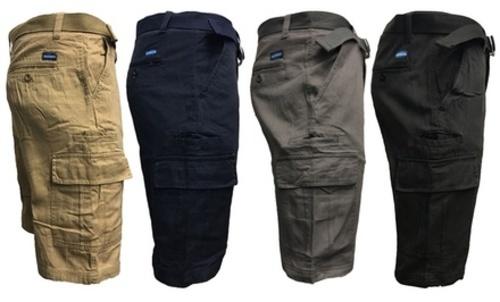 448b9e3df8 Men's 7-Pocket Slim Fit Cargo Shorts with Belt - Navy - Size: 34 ...