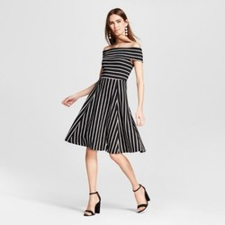Women's Knit Off the Shoulder Dress - Mossimo  Black/White Stripe S 1516245