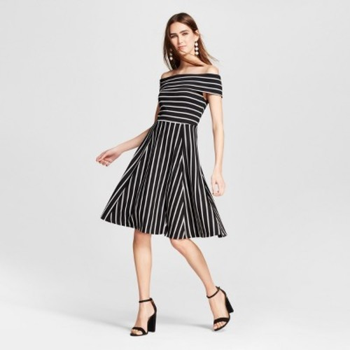 Mossimo Women S Knit Off The Shoulder Dress Black White Stripe Size M Check Back Soon