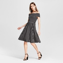 Women's Knit Off the Shoulder Dress - Mossimo  Black/White Stripe M 1516249