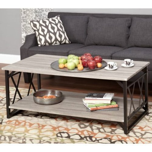 Reclaimed Style Grey Coffee Table With Double U0027Xu0027 Frame Black/ Grey