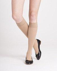 Women's 20-30 mmHg Soft Opaque Knee-High Socks - Nude - Size:Large Long 1530460