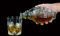 Glass Grenade-Shaped Decanter with Cork Top - 17 oz.