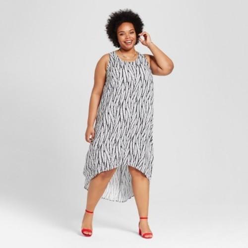 Women\'s Plus Size High-Low Maxi Dress - Ava & Viv Black Fern Print 4X -  Check Back Soon