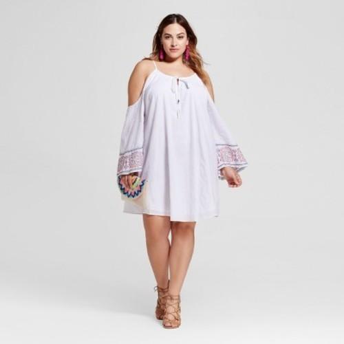 Womens Plus Size Cold Shoulder Peasant Dress Ava Viv White 1x