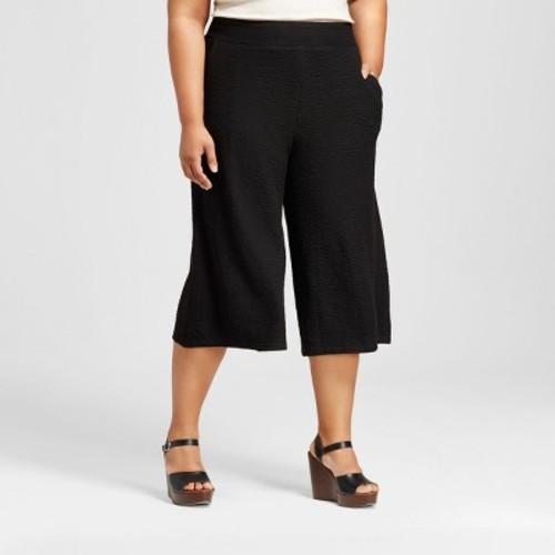7ce51ecfce3 Women s Plus Size Textured Knit Wide Leg Crop Pants - Ava   Viv ...