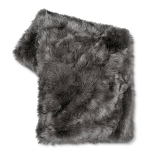 threshold faux fur throw blanket dark gray size 50 x60 check back soon blinq. Black Bedroom Furniture Sets. Home Design Ideas