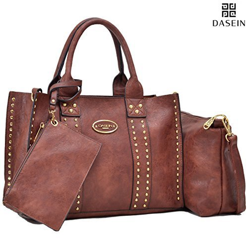 f9864e6f0f1d5b ... MK Women's Belted Designer Tote Purse Satchel Handbag Set - Coffee ...