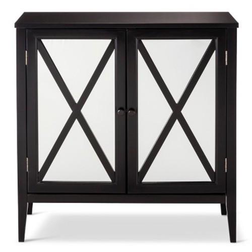 Wooddale Two Door Mirrored Storage Cabinet Black Threshold Check