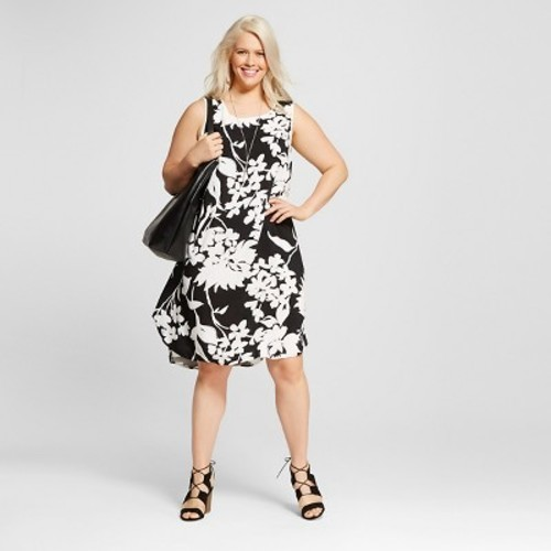 Ava & Viv Women\'s Plus Size Floral Printed Tank Dress -Black/White -Size:X  - Check Back Soon