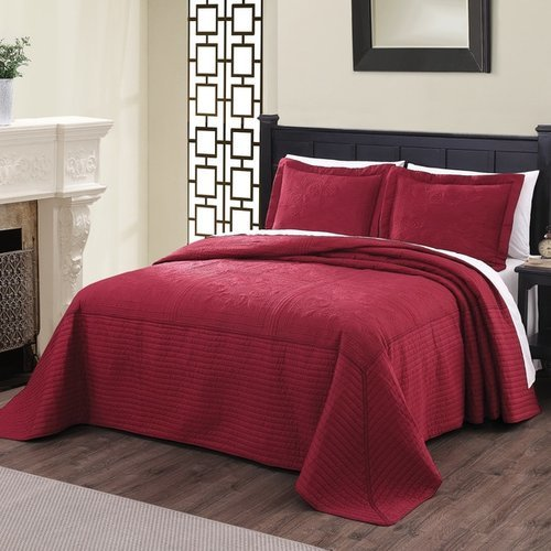 Pem America Vibrant Quilted French Tile Bedspread Burgundy Sz King