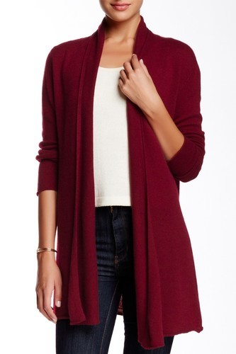 In Cashmere Women's Open Front Cashmere Cardigan - Wine - Size: XL ...