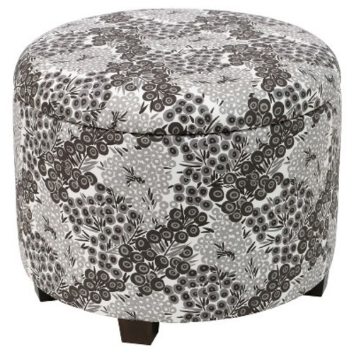 Magnificent Trappe Medium Round Ottoman With Storage Black White Floral Threshold Check Back Soon Gmtry Best Dining Table And Chair Ideas Images Gmtryco