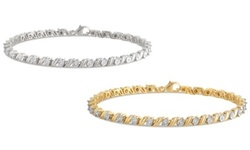 1/2 CTTW Diamond Bracelet: Rhodium and Gold over Sterling Silver