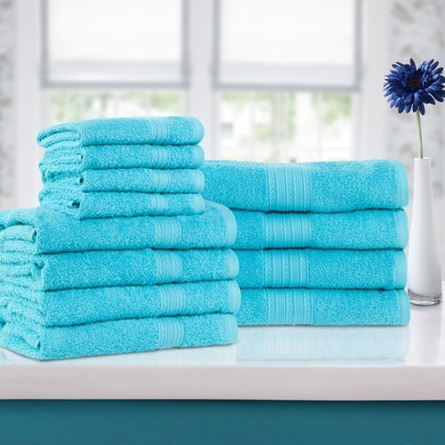Home City Ring Spun Cotton Towel Set 12piece Aqua Marine Size One