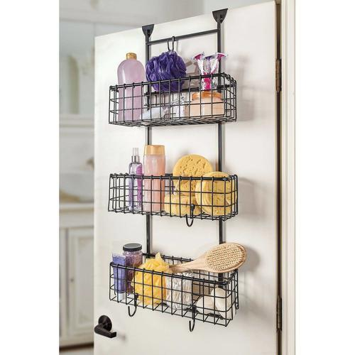 Handcrafted 3 Basket Wrought Iron Grid Over The Door Organizer