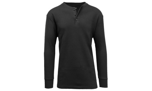 a89fd2f6679 Galaxy By Harvic Men s Waffle-Knit Thermal Henley Tee - Black - Size ...