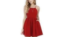Margaret Women's Open-Back Dress - Red - Size: Large