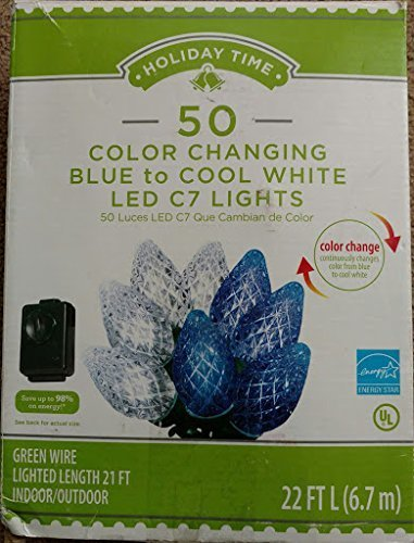holiday time diamond cut c7 led color changing christmas lights cool white to blue
