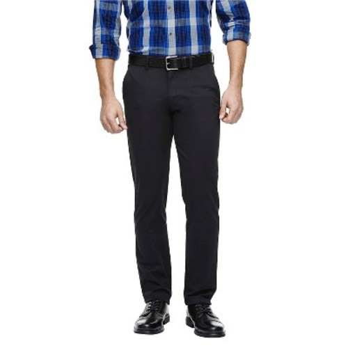 Haggar h26 men 39 s slim fit stretch pants chino black for Haggar forever new shirts