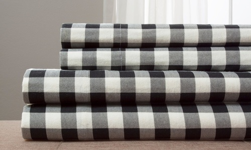 Wexley Home Flannel Buffalo Plaid Sheet Set Black White Size Queen Check Back Soon Blinq