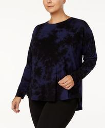 Calvin Klein Women's Performance Knit Tie Dye Top - Blue/Black - Size: 1XL 1614217
