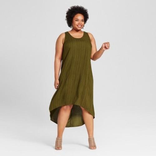 Women\'s Plus Size High-Low Striped Maxi Dress Stripe - Ava & Viv Olive 4X -  Check Back Soon