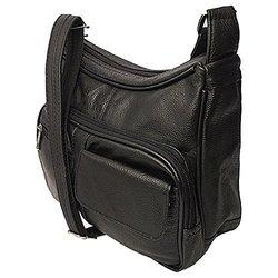 Roma Women's Genuine Top Grain Leather Concealed Messenger Bag - Black