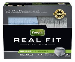 Depend Underwear Real Fit Maximum Absorbency for Men, Large/X-Large, 10 Count