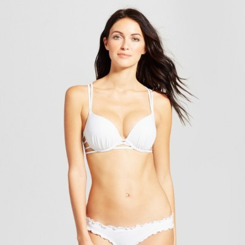 0702ee88f1777 Women s Shell Strappy Cross Back Push-Up Halter Bikini Top - Shade   Shore  White