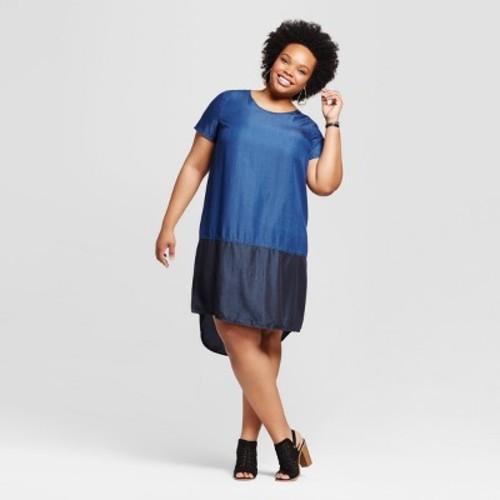 Women\'s Plus Size Denim Colorblock Maxi Dress - Ava & Viv Navy 2X - Check  Back Soon