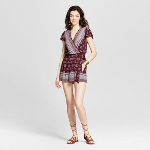 677d9e8b11a Women's Short Sleeve Surplice Romper - Xhilaration (Juniors') Burgundy  Blazer XS - Check Back Soon