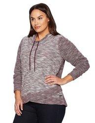 Calvin Klein Women's Crossover Cowl Neck Pullover - Merlot - Size: 1X 1614218
